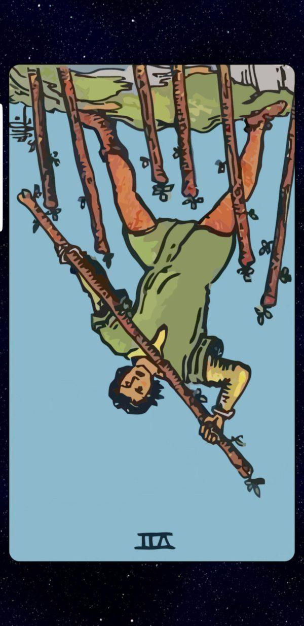 Seven of Wands Reversed Tarot card